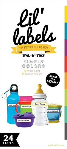 Bottle Labels, Write-On, Self-Laminating, Waterproof Kids Name Labels for Baby Bottles, Sippy Cup for Daycare School, Dishwasher Food Kitchen Safe (Simply Colors) ()
