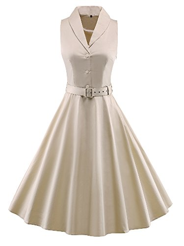 iLover Women's Retro V-Neck 1950s Vintage Bridesmaid Party Dress (Khaki, X-Large) (Bridesmaid Dresses Khaki)