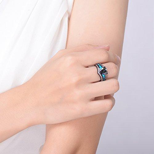 Kingwin, anello da dito colorato con cristallo opale blu a forma di cuore, placcato in rodio