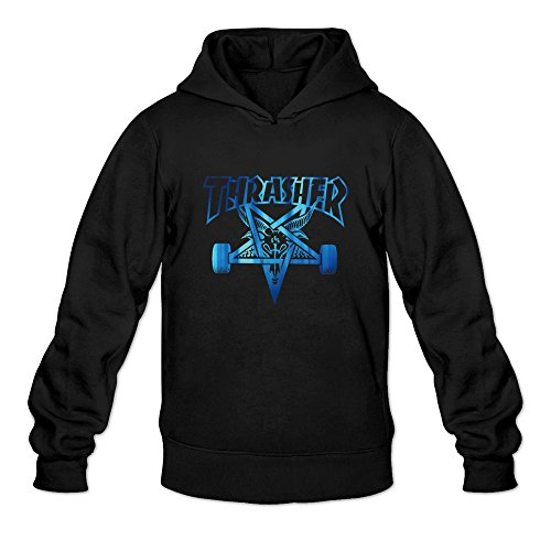 Men's Thrasher Skateboard Fashion Long Sleeve Hoody XL Black (Riot Ski)