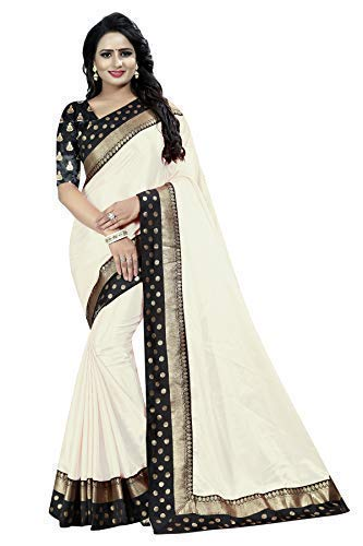 f8873f3a427963 M Datar Fashion Women s Paper Silk Saree with Lace (White)  Amazon.in   Clothing   Accessories