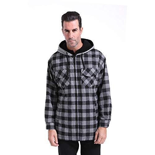 (Mens Plaid Jacket Zipper Hoodie Warm Casual Jackets Long Sleeve Full Zip Up Hooded Tartan Coat Fleece Lined Big and Tall Loose Slim Fit Outdoor Winter Spring(Black-Grey, 3XL))