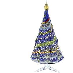 GlassOfVenice Murano Glass Christmas Tree Standing Sculpture - Blue