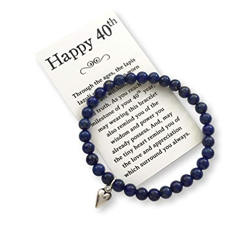 Birthday Jewelry Gift Woman Turning 40 - Bead Bracelet Meaningful Message Card & Gift Box by Birthday Jewelry