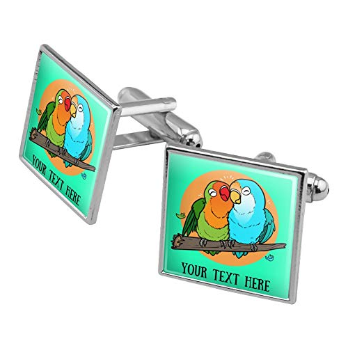 GRAPHICS & MORE Personalized Custom 1 Line Lovebirds Cuddling On Branch Square Cufflink Set Silver Color