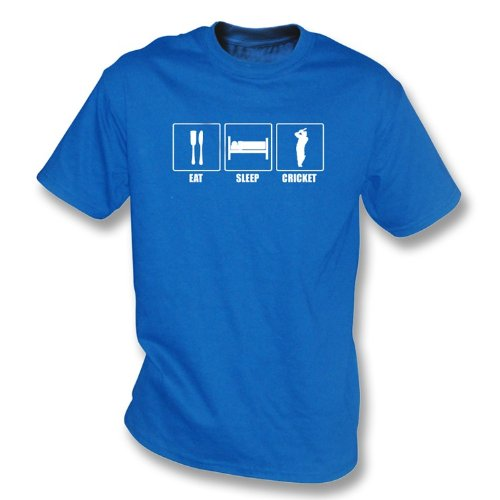 Eat, Sleep, Cricket t-shirt, Color Royal Blue