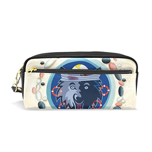 Cute Funny Wolf Leather Student Pencil Case Cosmetic