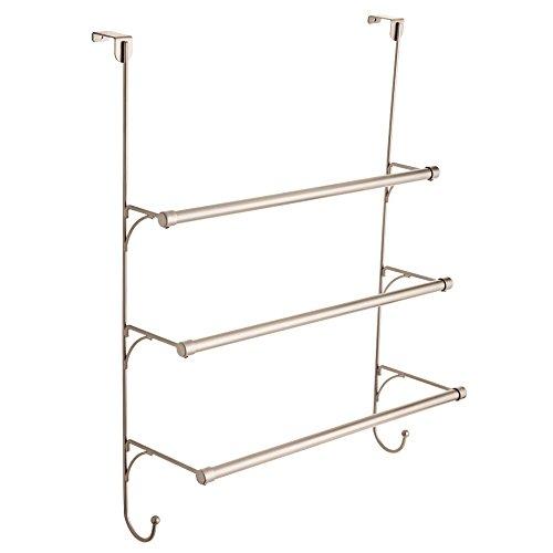 Franklin Brass 193153-FN Over the Door Triple Towel Rack with Hooks, Flat Nickel -