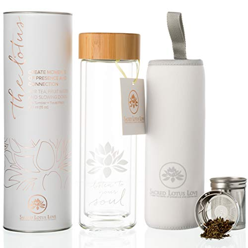Clear Glass Diffuser - The Lotus Glass Tea Tumbler Infuser Bottle & Strainer for Loose Leaf, Herbal, Green Tea, Coffee or Fruit Water Infusions. 450ml/15oz Keeps Drinks Hot or Cold for 45 min. Bamboo Lid + Travel Sleeve