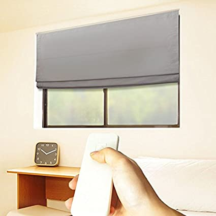 Amazon godear design cordless roman shades motorized remote godear design cordless roman shades motorized remote thermal insulated blackout curtain 35quot solutioingenieria Images