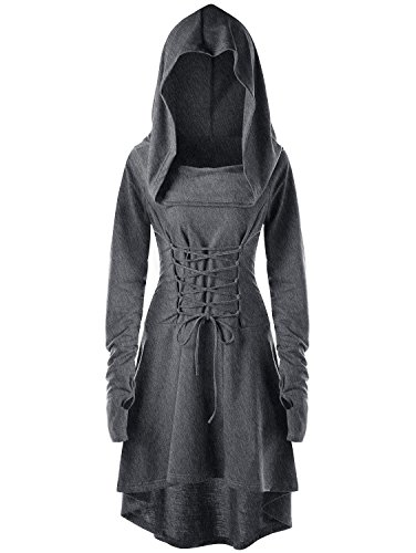 Womens Halloween Hooded Robe Lace Up Vintage Pullover High Low Long Hoodie Dress By Gemijack (Small, -