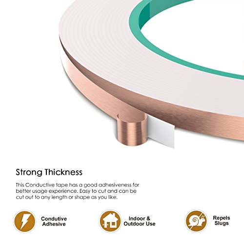 YoungRich 4 Pack Copper Foil Tape Conductive Adhesive for Electrical Repairs EMI Shielding Paper Circuits Craft Projects Pest Repelling Slug Snail 5mm25m by YoungRich (Image #1)