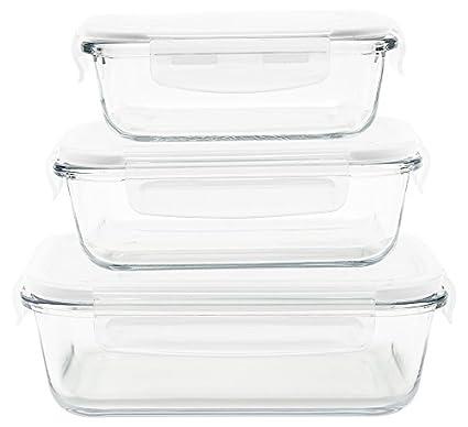 Pebbly pkv-3srb Set de 3 bandejas/cajas rectangular (cristal transparente, 21