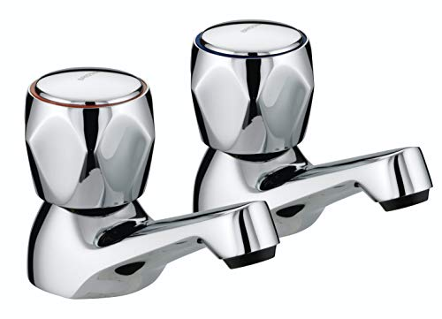 (Bristan VAC 1/2 C MT Chrome Plated Club Basin Taps with Metal Heads)