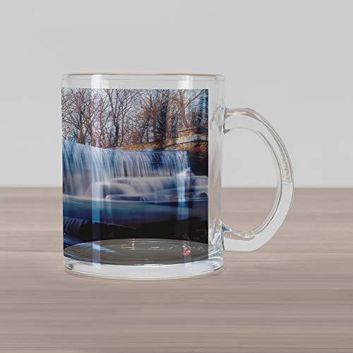 Lunarable Waterfall Glass Mug, Grand Victoria Falls Flowing Over The River Novelty in The Universe Art Photo, Printed Clear Glass Coffee Mug Cup for Beverages Water Tea Drinks, Blue Brown (Grande Glass Waterfall Clear)