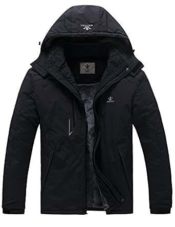 WenVen Mens Winter Fleece Snow Coat Mountain Jacket with