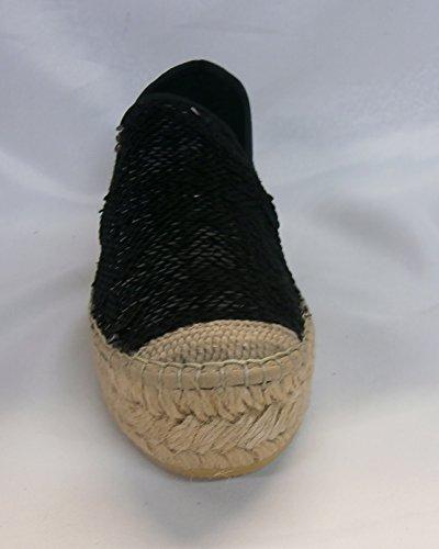 Vidorreta slip-on corda zeppa 06300 nero paillettes made in Spain
