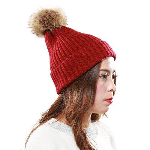 Tronet Knit Hats for Women Winter,Women Warm Crochet Winter Wool Knit Ski Beanie Skull Caps Hat Hairy Bulb Red from Tronet Knitted Hat