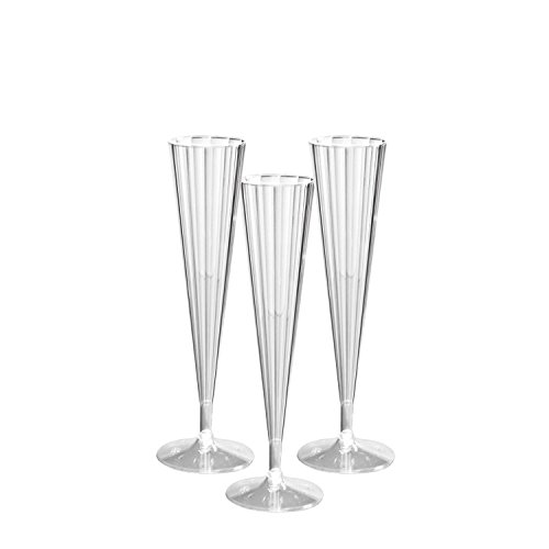 Party Essentials N51021 Deluxe/Elegance Two Piece Hard Plastic 5-Ounce Champagne Flutes, Pack of 10, Clear -