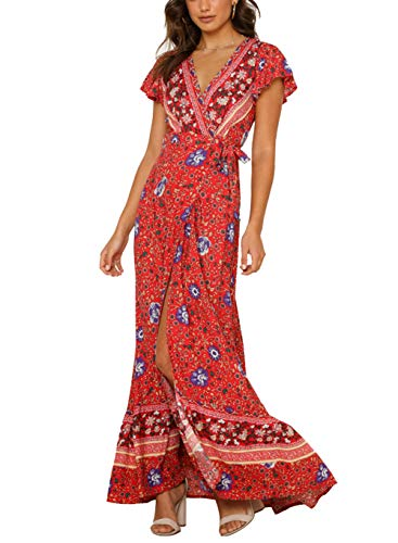 (Women's Boho Floral Ruffle Dress Beach Party Tunic V Neck Wrap Split Maxi Swing Sundress (M, Red 1))