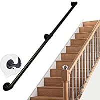 Industrial Rustic Cast Iron Stair Handrail, Clothes Rack, Wall Handrail Towel Rail Banister for Elderly Kids Indoor or Outdoor Use