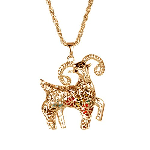 Paialco Jewelry Chinese Style Big Sheep Ram Pendant Necklace 29.5 Inches, Rose Gold Flashed (Ram Pendant Jewelry)