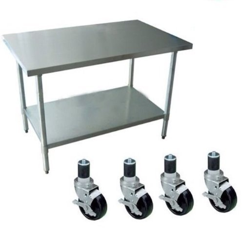 DuraSteel 24'' x 60'' x 35'' Height Worktable Stainless Steel Food Prep With 4 Caster Wheels Work Table- Commercial Grade Work Table - Good For Restaurant, Business, Warehouse, Home, Kitchen, Garage, by Apex