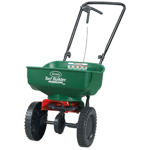 Drop Lawn Spreader (Scotts Turf Builder EdgeGuard Mini Broadcast Spreader | Spreads Grass Seed, Fertilizer and Ice Melt | Use in Spring, Summer, Fall and Winter | Holds up to 5,000 sq. ft. of Scotts Grass Seed or Fertilizer Products)