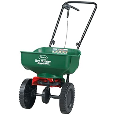 Turf Builder EdgeGuard Mini Broadcast Spreader | Spreads Grass Seed, Fertilizer and Ice Melt | Use in Spring, Summer, Fall and Winter