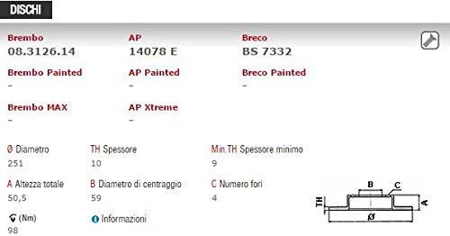 PASTIGLIE BREMBO 08.3126.14 POST KIT DISCHI FRENO P23080