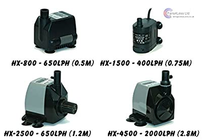 HAILEA Immersible Water Pump Hydroponics Fish Pond & Grow Tent Up to 2500Lph (HX-4500 - 2000lph (2.8m)) by HAILEA