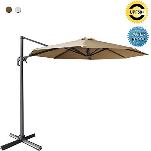ABCCANOPY Offset Cantilever Umbrella 10 FT Outdoor Patio Hanging Umbrella Roma Umbrella UV50+ 360 Degree Rotation with Cross Base for Patio, Deck, Pool and Backyard ()