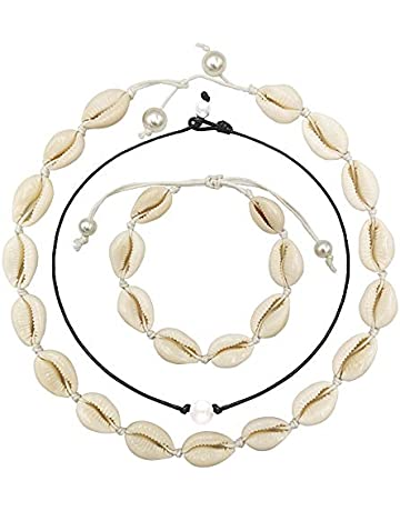 38f3c11cb Shell Necklace with Pearl Handmade Cowrie Pearls Shell Necklace Puka Shell  Choker Necklace Adjustable Rope Beach