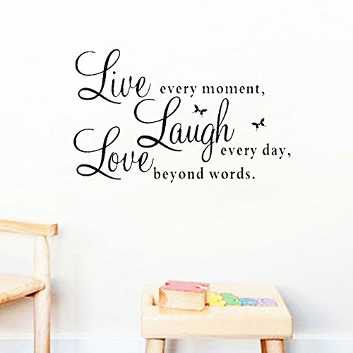 FairyTeller Live Laugh Love Quotes Wall Decals Zooyoo1002 Home Decorations Adesivo De Paredes Removable Diy Wall Stickers
