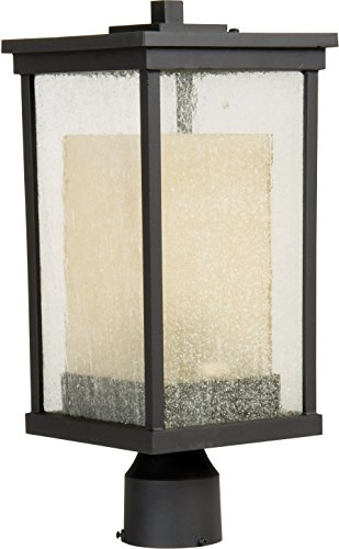 Craftmade Z3725-92 Post Mount Light with Clear Seeded Outer and Frosted Amber Inner Glass Shades, Bronze Finish For Sale