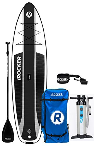 iROCKER CRUISER Inflatable Stand Up Paddle Board 10'6' Long 33' Wide 6' Thick SUP Package (Black 2018)