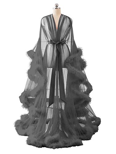 Changuan Sexy Feather Bridal Robe Tulle Illusion Long Wedding Scarf New Custom Made Gray 3XL
