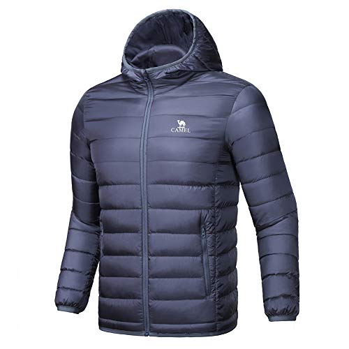 CAMEL CROWN Men's Packable Hooded Down Puffer Jacket Winter Warm Lightweight Quilted Windproof Coat for Outdoor Grey Size XL -