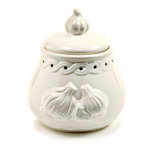 Le Creuset Garlic - Norpro White Stoneware Garlic Keeper, Off-White