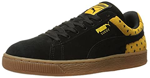 PUMA Men's Suede Stars Fashion Sneakers, Black/Gold Fusion, 10.5 D US