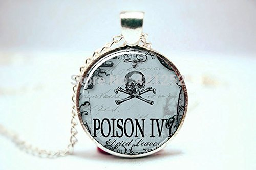 Pretty Lee 2015 Fashion Poison Necklace Spooky Halloween Jewelry Gothic Poison Ivy Pendant Glass Photo Cabochon Necklace Christmas gift ()