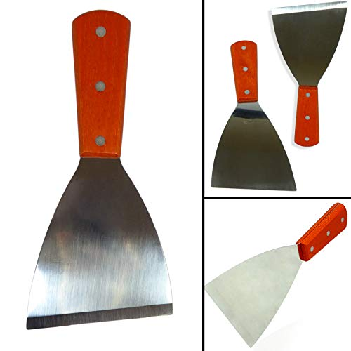 Stainless Steel Pan Scraper - Anapoliz Stainless Steel Grill Griddle Spatula Scraper Commercial Grade | Diner Flat Straight Blade, Premium Commercial Grade (1 Piece)