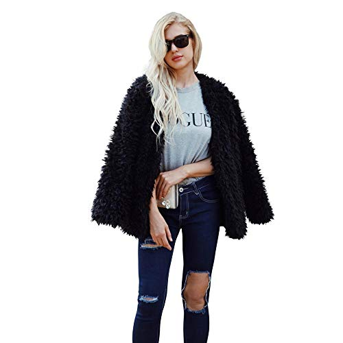 Women Fluffy Fuzzy Faux Fur Coat Open Front Cardigan Jacket Coat Outwear for Wedding Party Winter (Black,M)