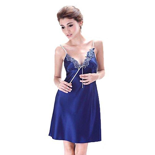 La Sra pijamas de verano camisón de seda bordados ligas atractivas Blue