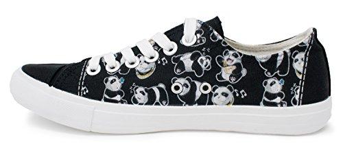 Sneakers Panda Bear | Simpatica Scarpa Da Ginnastica In Tela Da Ginnastica Per Allenatore Palestra Divertente - Donna Uomo Nera