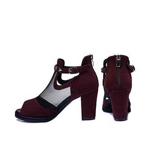 Net Yarn Single Schuhe Sandalen 8cm High Heels Sommer Lady ( Farbe : A , größe : EU36/UK4/CN36 ) B