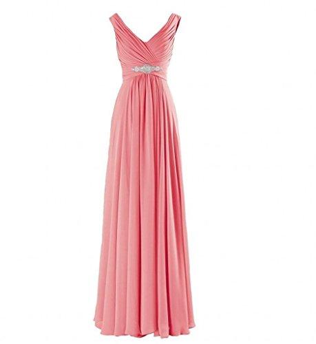 Partykleider Dunkel Ausschnitt Abendkleider Marie Brautjungfernkleider V La Elegant Braut Abschlussballkleider Chiffon Rosa 0Uwx4q