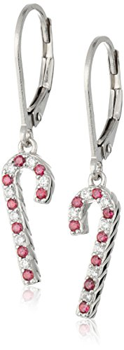 Platinum Plated Candy Cane Christmas Lever Back Earrings set with Swarovski Zirconia (.3 cttw)