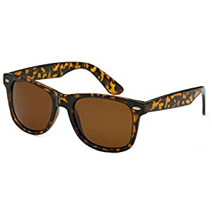 Sunglasses Classic 80's Vintage Style Design (Tortoise Brown, Polarized)
