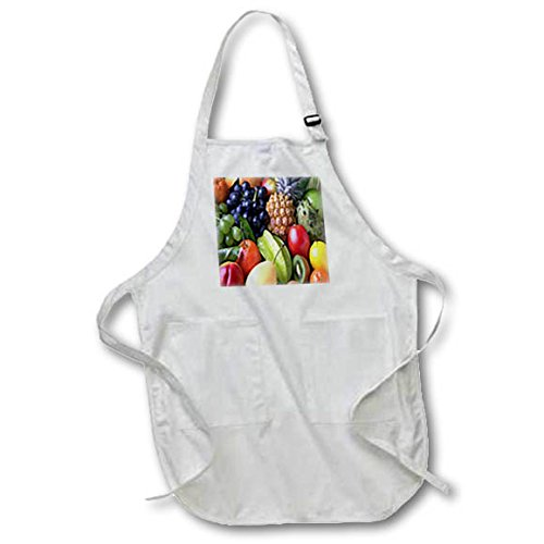 rage - Image of Closeup Photo Of Assorted Fruits - Medium Length Apron with Pouch Pockets 22w x 24l (apr_280001_2) (Pear Head Photo)